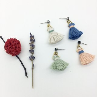 Laolin groceries l Japanese embroidered line hand made tassel earrings - hit color ear hook l ear pin l ear clip