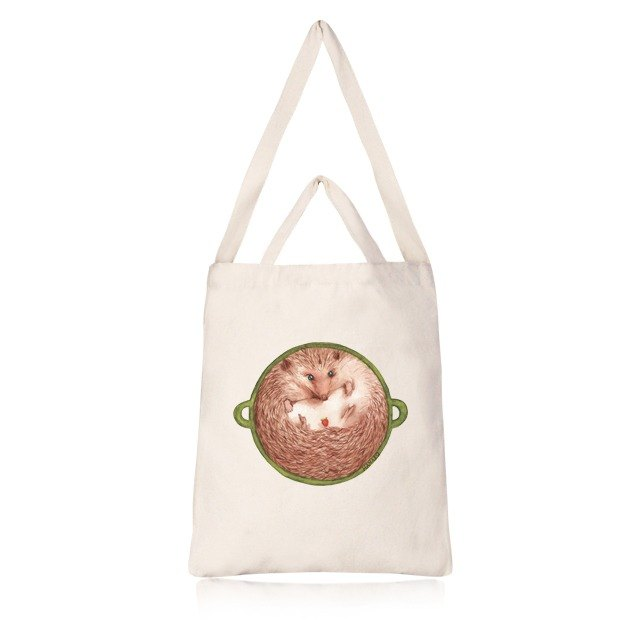 Hedgehog Flower Straight canvas bag