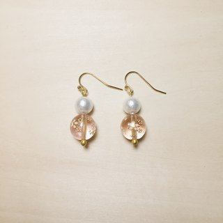 [E1017] Vintage Pink Cherry Blossom Glass Earrings