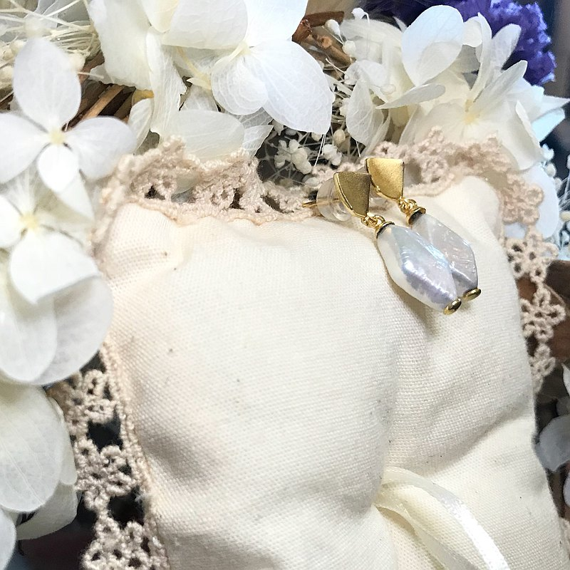 方型/鑽沙 巴洛克珍珠 純銀垂墜耳環