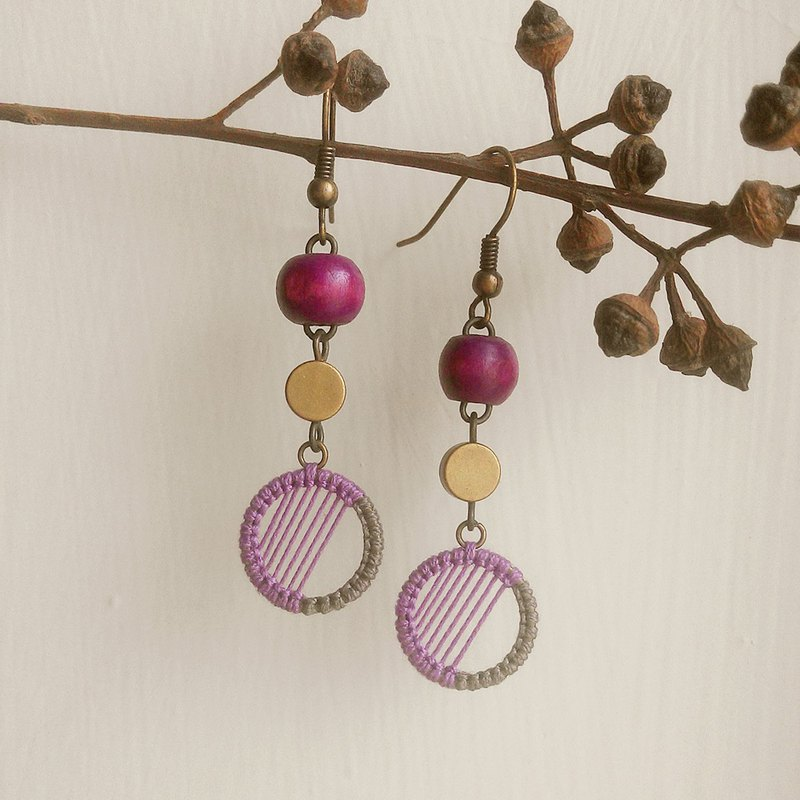 Purple moonlight macrame boho earrings fancy rope can be changed ear clip lavender