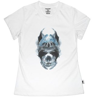 British Fashion Brand [Baker Street] Blue Feather Skull Printed T-shirt