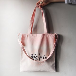 Pearl powder gradient - Canvas hand dyed Tote double back