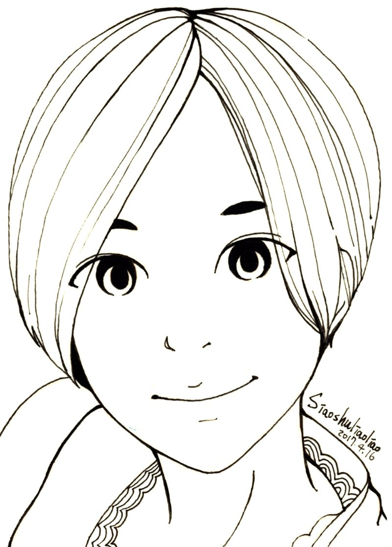 A6 Custom Painting Portrait Painting Black And White Lineart