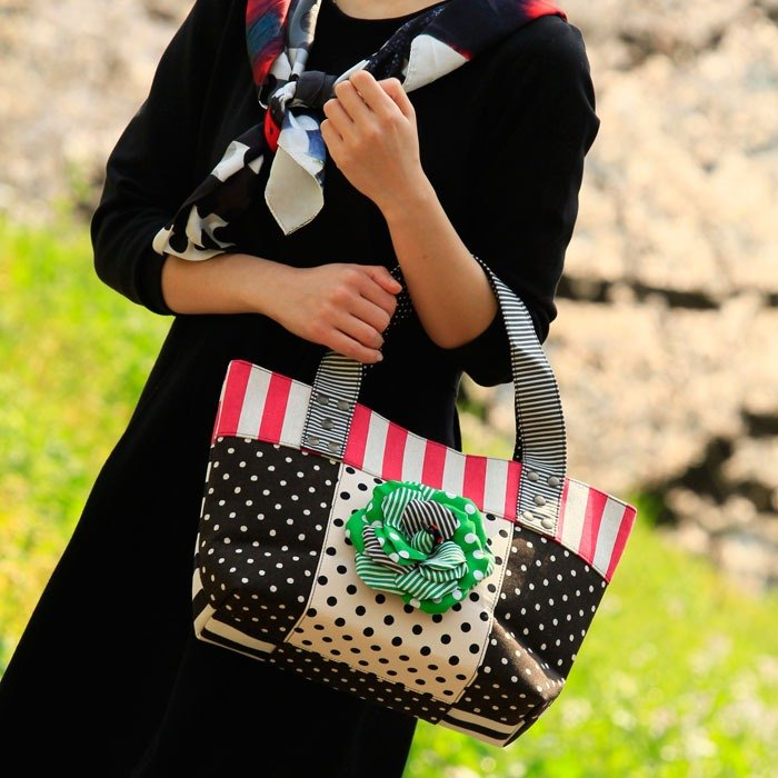 tote bag Location Hunting S Pink Green Corsage dots borders stripes