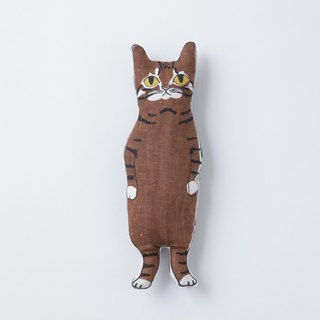Brown tabby CAT stuffed animal pocket size