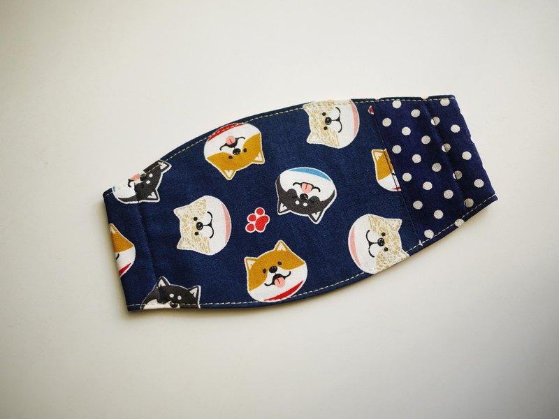 手作訂製=日常必備小物=手作口罩=微笑柴犬=藍+點點