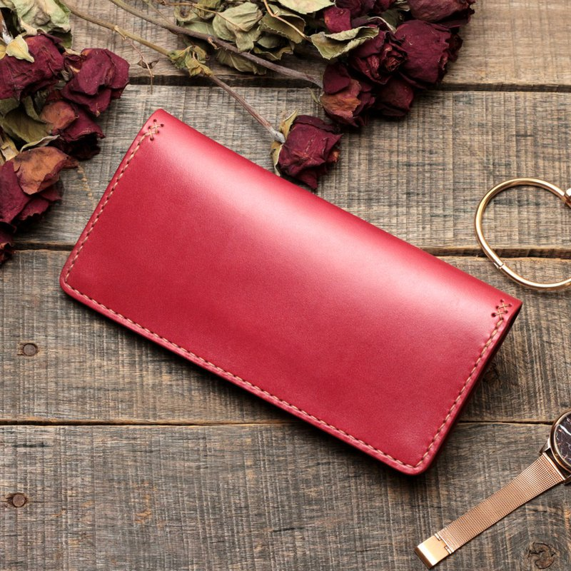 Rustic dry rose red dip dyed vegetable tanned cow leather handmade long clip