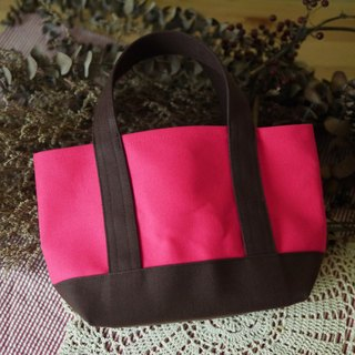 Classic Tote Bag Ssize shockingpink x coffee - Pink x Coffee -