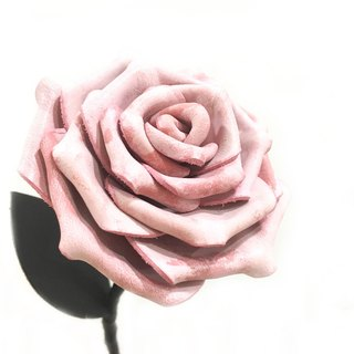 Cream Pink Leather Rose