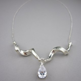 Silver Spiral Horns Necklace with Pear Zircon - Handmade-925