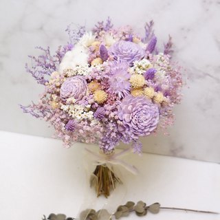麋花 Amor Floral-绚紫 Dream Dry Bridal bouquet/Wedding Small Bride and groom Bride Photo props Dry flower Dried corsage