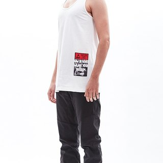 """NOW OR NEVER"" print white cotton tank top"