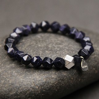 Eight-sided starry blue sandstone bracelet is not available VISHI original 925 sterling silver geometric cut angle men and women neutral gift