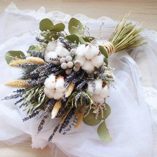 Hand made dry flower bouquet ~ Nanfa natural wind lavender cotton hand tied bridal bouquet / wedding props ~