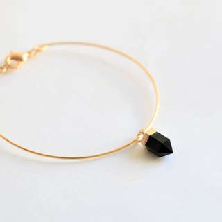 Black agate bracelet - 18k gold plated thin bracelet - natural crystal bracelet
