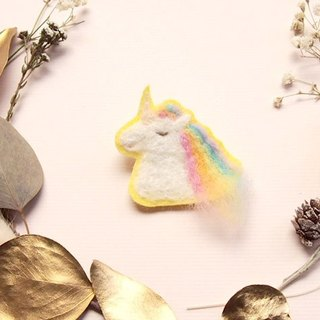 Rain Unicorn Felted wool Embroidery illustration pin(1P)