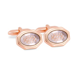 Rose Gold Octagon Clear Bezel with Crystals Cufflinks