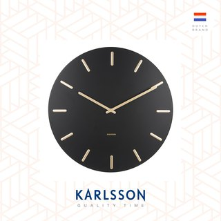 Karlsson Wall clock Charm steel black with gold battons