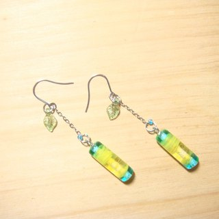 Grapefruit Forest Handmade Glass - Lemon Candy - Glass Earrings - (can be clipped for free)
