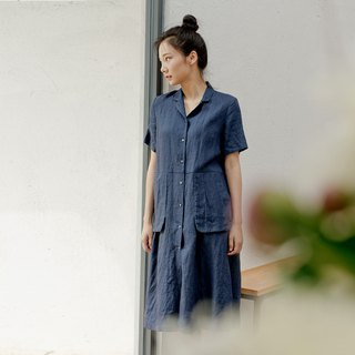 BUFU indigo linen polo-dress D180103