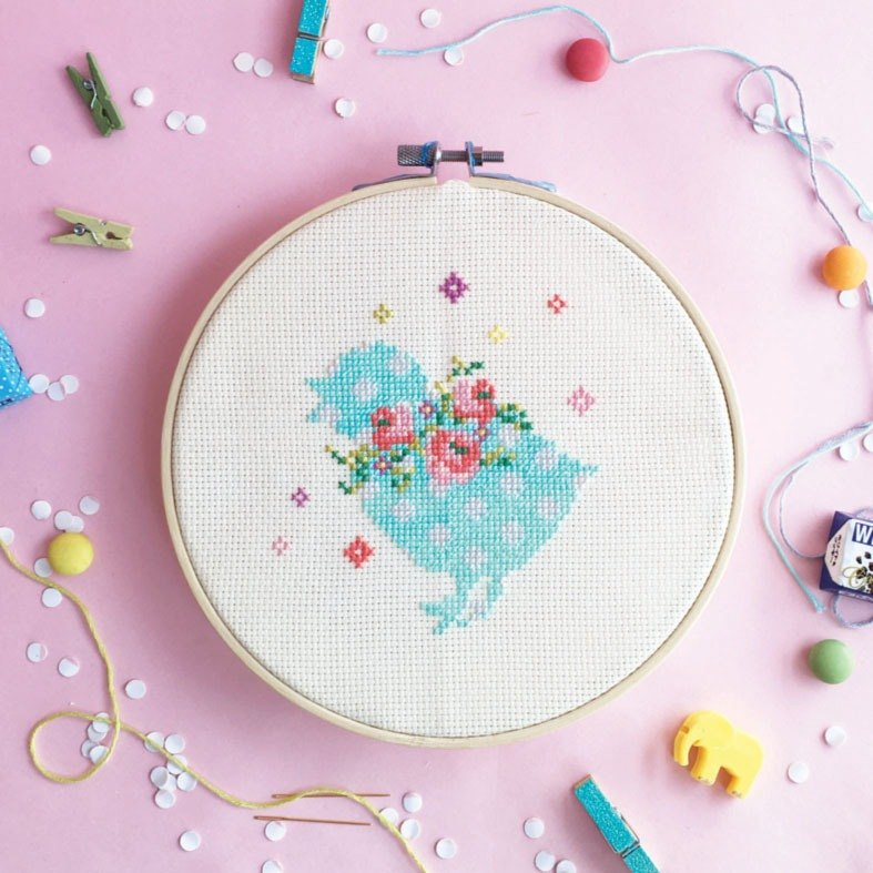 Cross Stitch KIT - Chick with Floral Wreaths