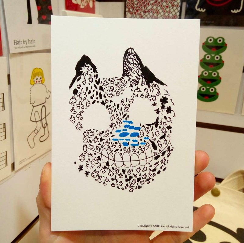 Cat Facebones Postcard Birthday Card Design Coloring Illustration Drawings Cards Universal Art Fine Arts Modern Lovers Love Special Interesting Weird