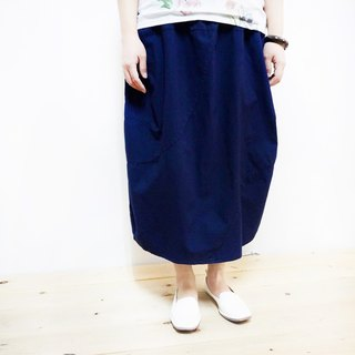 Pure cotton elastic splicing skirt / dark blue