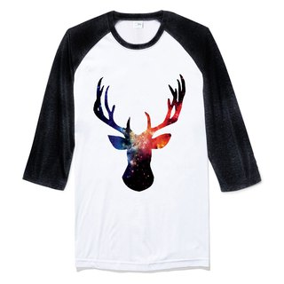 Cosmic Stag 【Spot】 Neutral Sleeve T-shirt white black deer universe parity fashion design own brand Milky Way fashion triangle