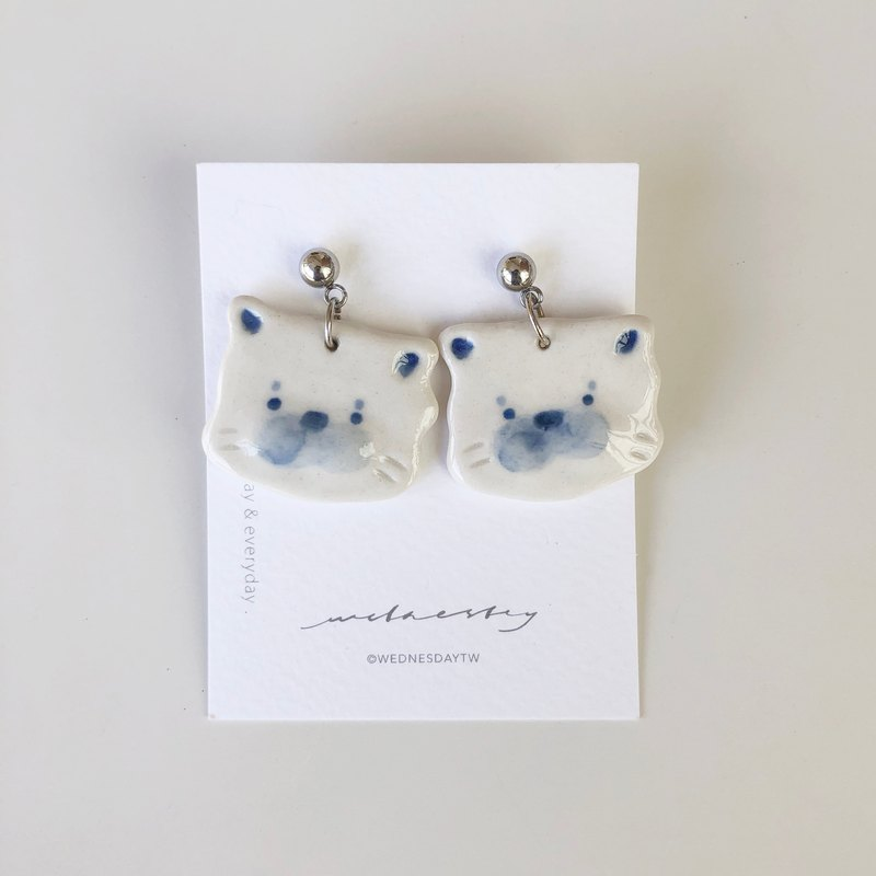Cat Face Face Mong Choi White Porcelain Earrings