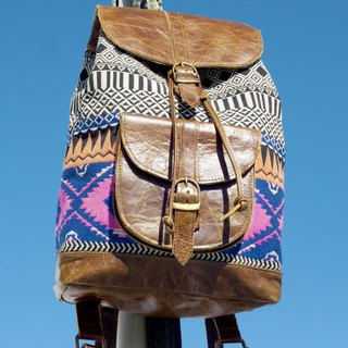 Leather stitching design backpack boho shoulder bag national wind mountaineering bag patchwork bag - Moroccan color