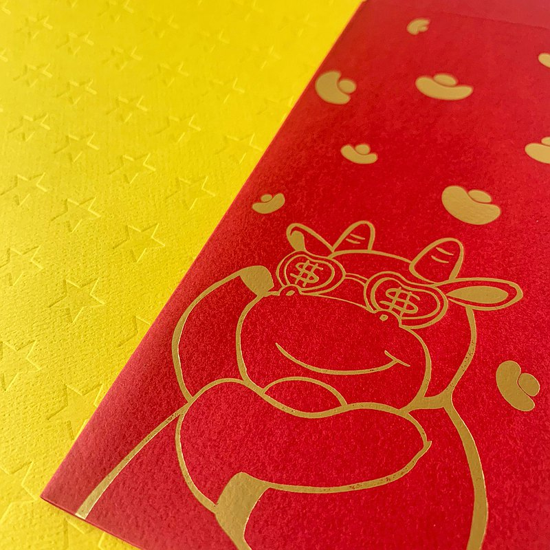 Red envelope bag / cow to give money / medium-three in