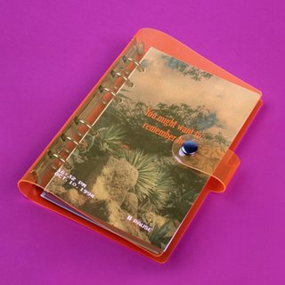 Retro video 6 hole loose-leaf square eyelet note 05. neon orange
