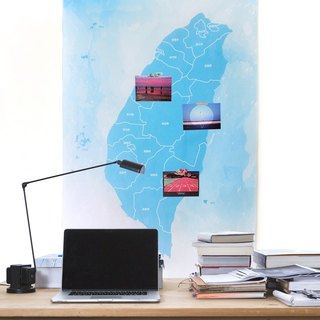Taiwan map tarpaulin watercolor blue