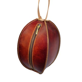 Spherical clutch / hand dyed / double needle hand sewing / customized / Italian vegetable tanned leather