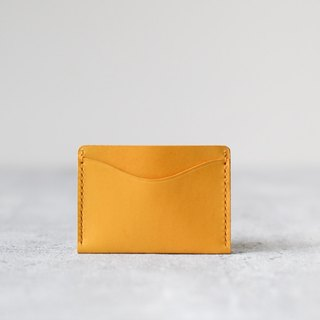 Custom Order - Add d ring version - Ming yellow leather handmade minimalist card holder