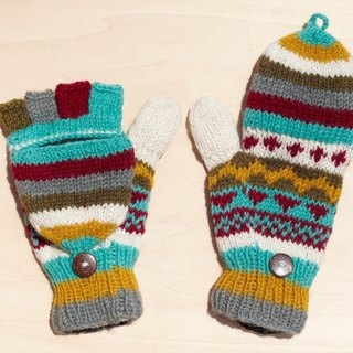Handmade Knitted Pure Woolen Woolen Gloves / 2ways Gloves / Open Toe Gloves / Bristles Gloves / Knitted Gloves - Scarlet Nordic Forest Fell Island National Totem