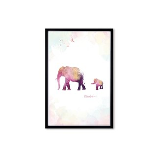 HomePlus Decorative Frame BEST COMPANION-ELEPHANT Black frame 63x43cm Homedecor