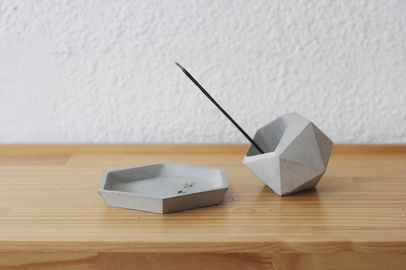 Asteroids line incense group | line incense gift box cement geometric storage device hexagon storage tray gift