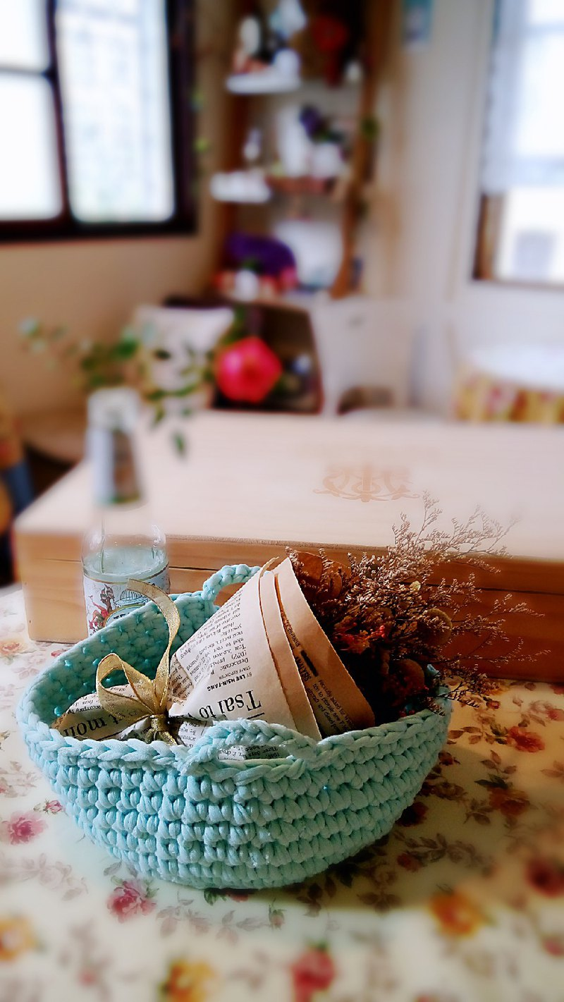 Threaded woven basket Skyblue