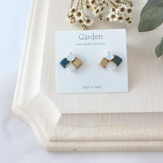 tile earrings matte blue gold