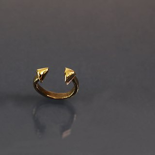 Triangle cut brass ring