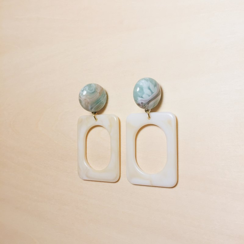 Vintage Green Moire Balls White Cutout Rectangular Earrings
