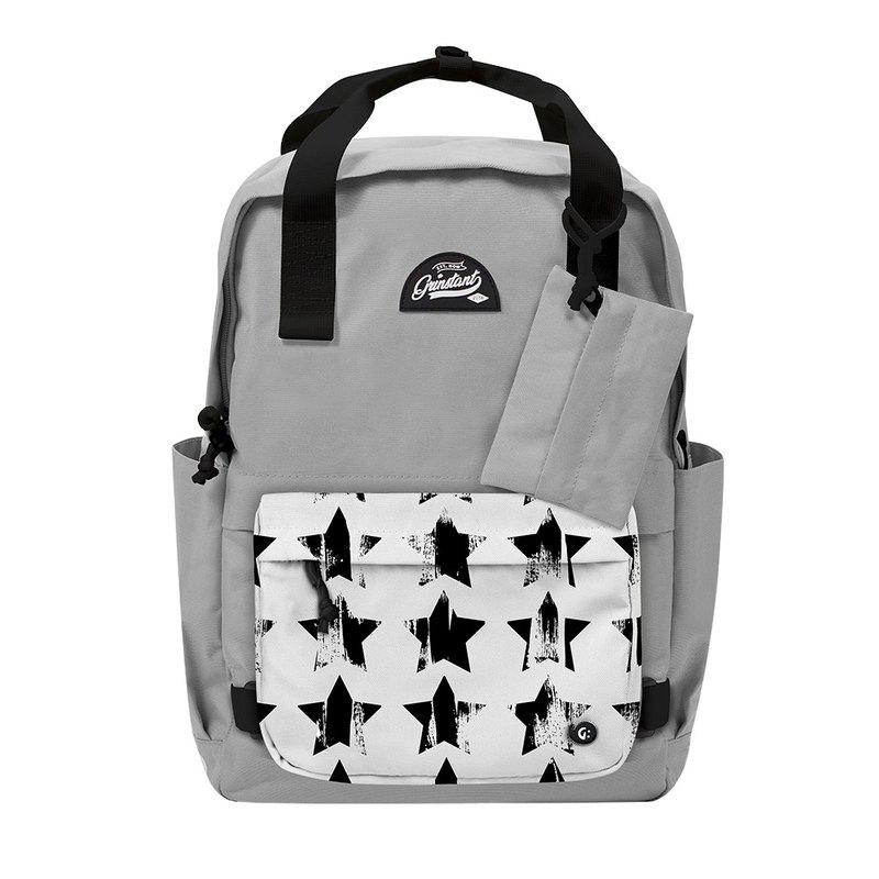 Grinstant Mashable 15.6-inch Rear Backpack-Black and White Series (Gray with Stars)