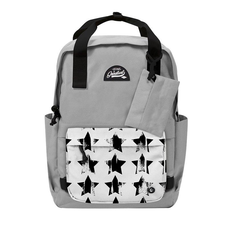 Grinstant混搭可拆組式15.6吋後背包 - 黑白系列 (灰色配星星)