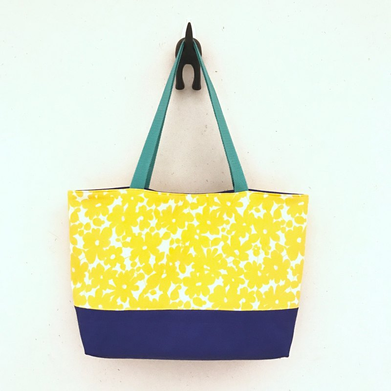 Tote bag - yellow flower sea - Japanese cotton cloth