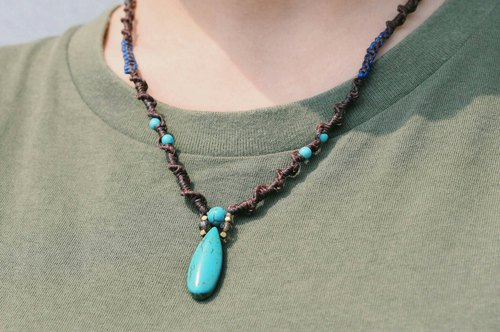Traveller's Amulet_Turquoise Wax Weaving Necklace