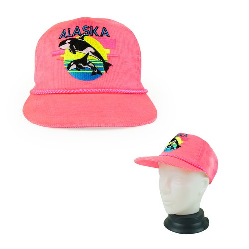 A‧PRANK: DOLLY :: retro VINTAGE Alaska with bright pink dolphin embroidered baseball cap corduroy cap
