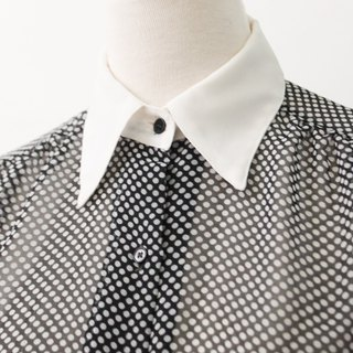Vintage Japanese splicing collar long black vintage shirt Vintage Blouse