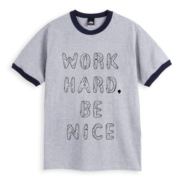 WORK HARD, BE NICE - Heather Grey dark blue piping - Unisex T-Shirt